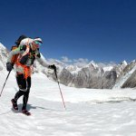 Ueli Steck in the Western Cwm a few days before his death, with trekking poles rather than an axe (Photo: Ueli Steck)