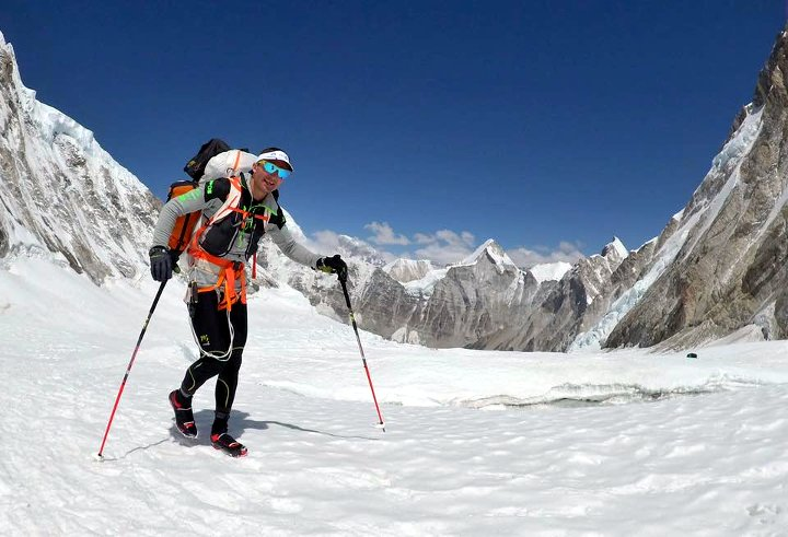 Ueli Steck in the Western Cwm a few days before his death, with trekking poles rather than an axe. Lhotse is behind him on the left. (Photo: Ueli Steck)