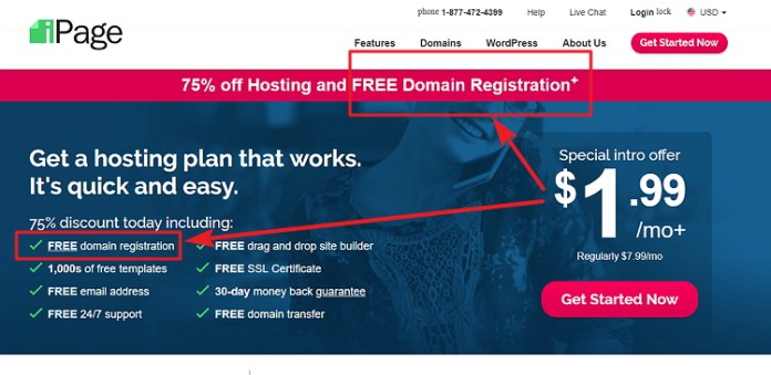 Free Domain Name iPage