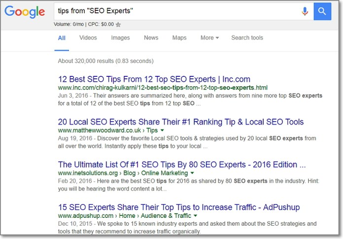 """Just use [Tips from """"[Niche] Experts""""] operator when searching on Google."""