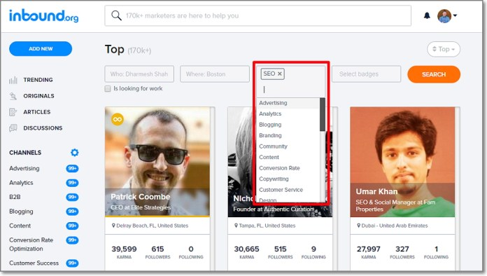 Inbound.org members page has a very friendly search feature, which lets you to sort members by their skills