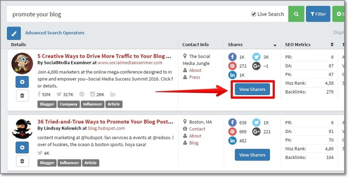 """Once you have the top posts by Twitter shares, click the """"View Sharers"""" button"""