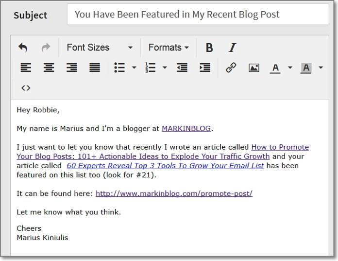 here's how the same email looked like when I was send it with Ninja Outreach outreach mode