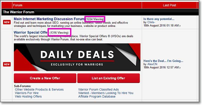 Warrior forum active users