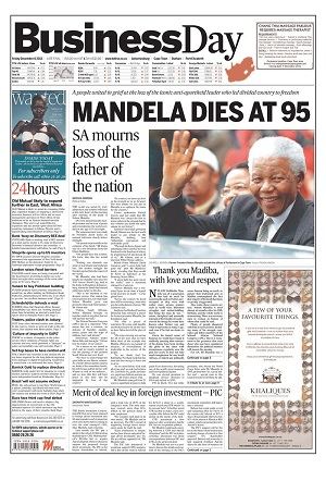 Business Day front page 6 December 2013 — Madiba (Source: Newseum)