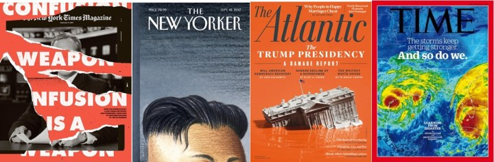 Collage - The New York Times Magazine 17 September 2017, The New Yorker 18 September 2017, The Atlantic October 2017 and TIME 25 September 2017