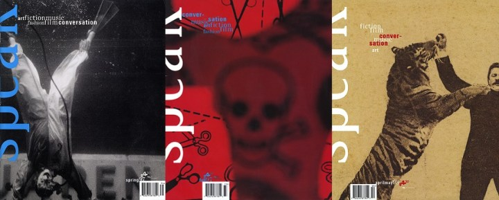 Collage - Speak Spring issue 5, Speak Fall issue 7 and Speak Summer issue 9