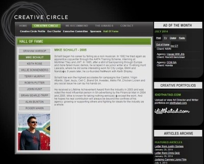 Creative Circle South Africa Hall of Fame screengrab