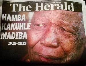 The Herald front page 6 December 2013 — Madiba via @SonKoerant