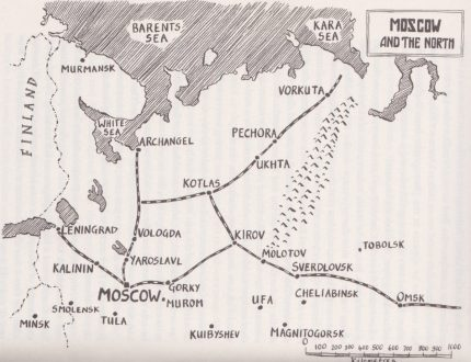 Lev was taken to Pechora camp (map taken from the book)