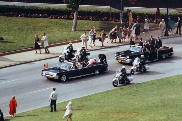 Reenation of the fateful moment in Oliver Stone's JFK