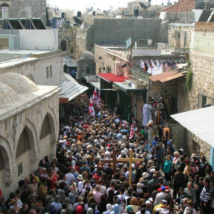 An orthodox Good Friday procession on the Via Dolorosa (Jerusalem)