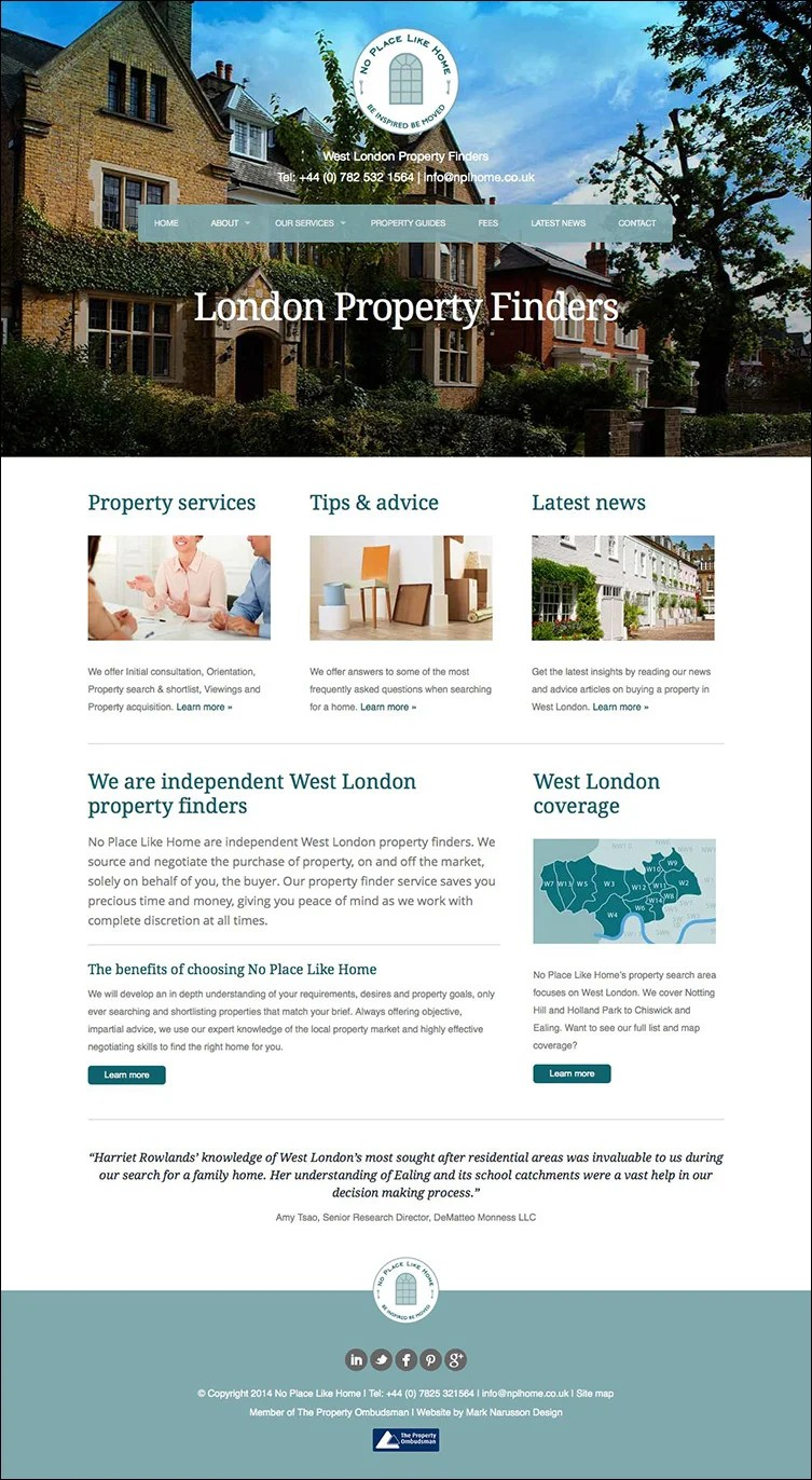 nplh london web design homepage
