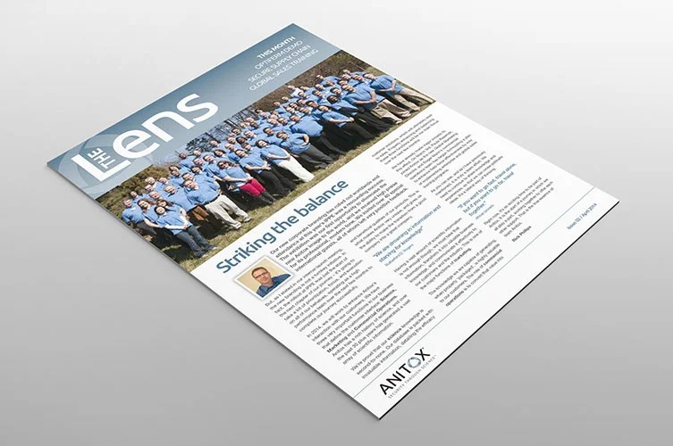 anitox lens newsletter cover design