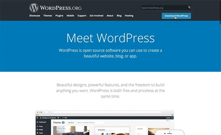 wordpress home screen