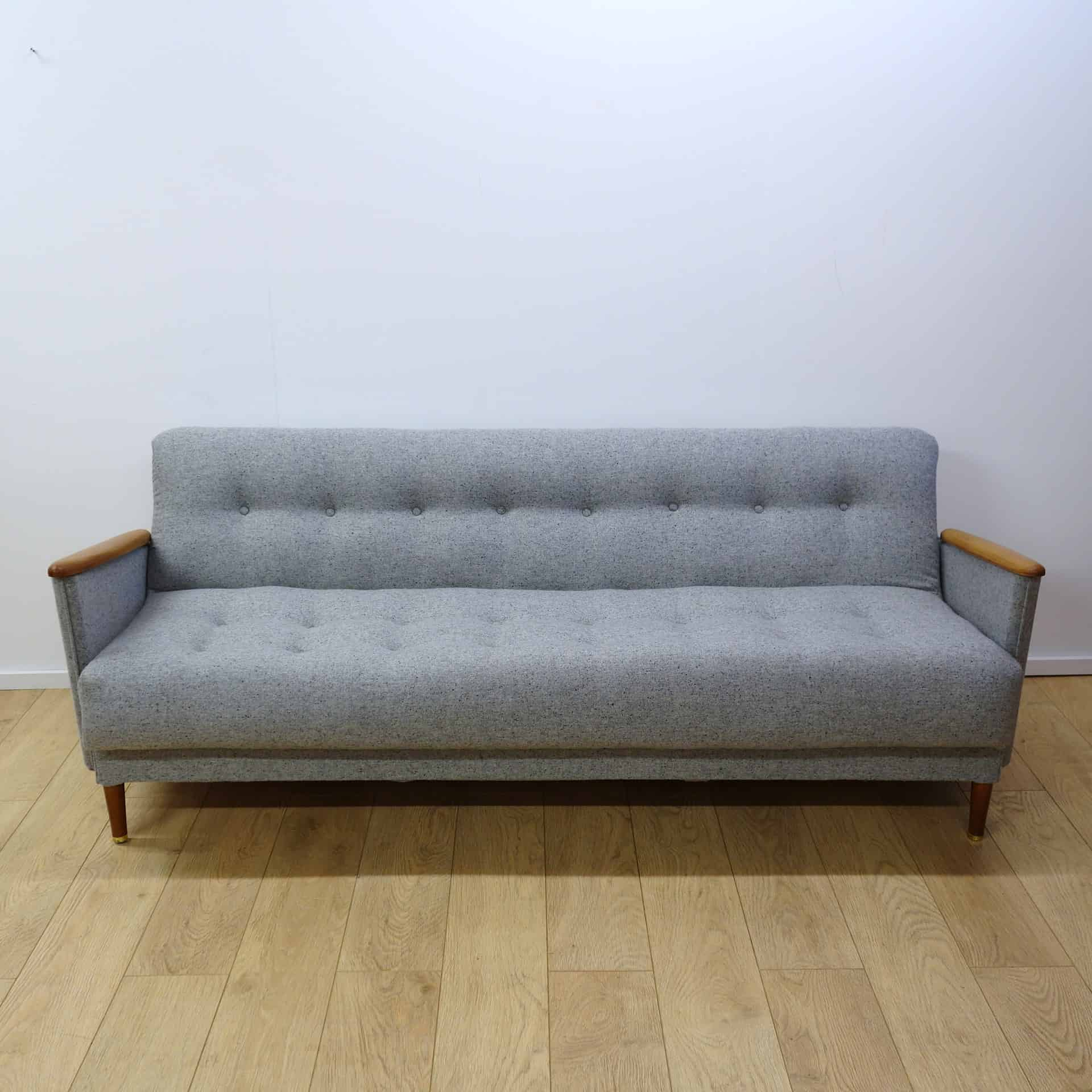 mid century modern light gray sofa avery bed donation value a grey mark parrish