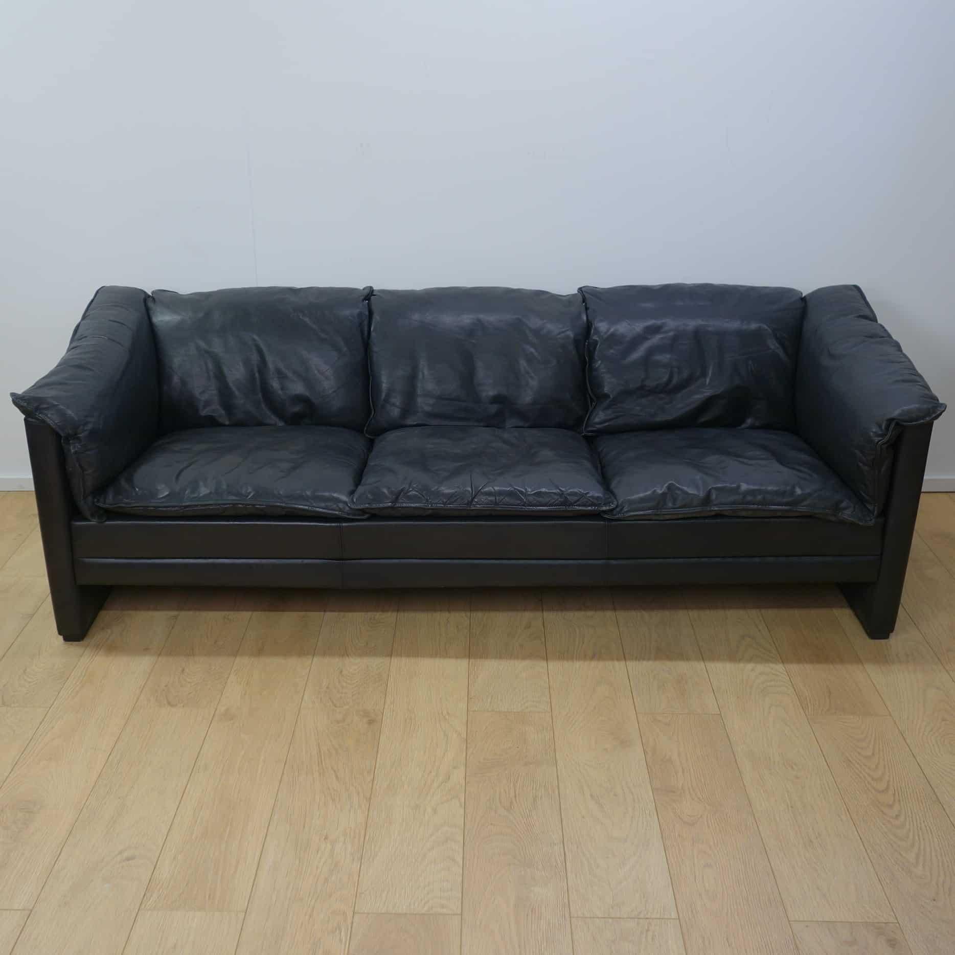 3 seater black leather sofa day sofas danish mark parrish mid