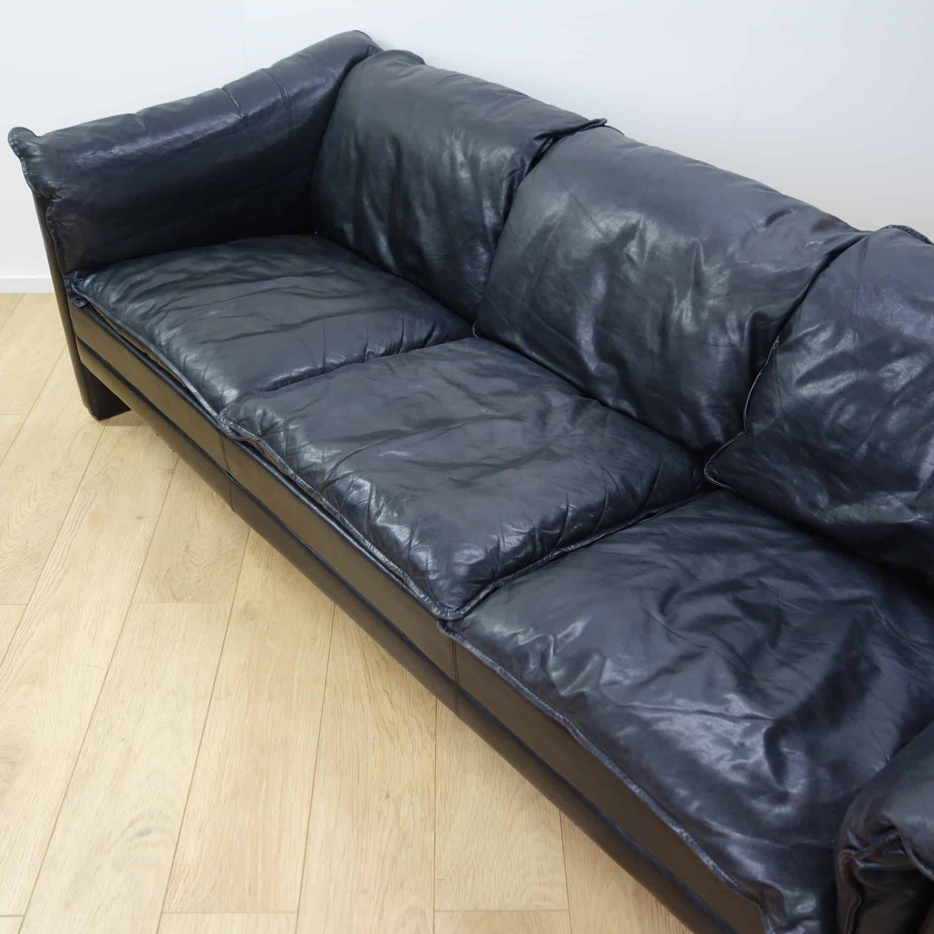 3 seater black leather sofa elliot bed at target danish mark parrish mid