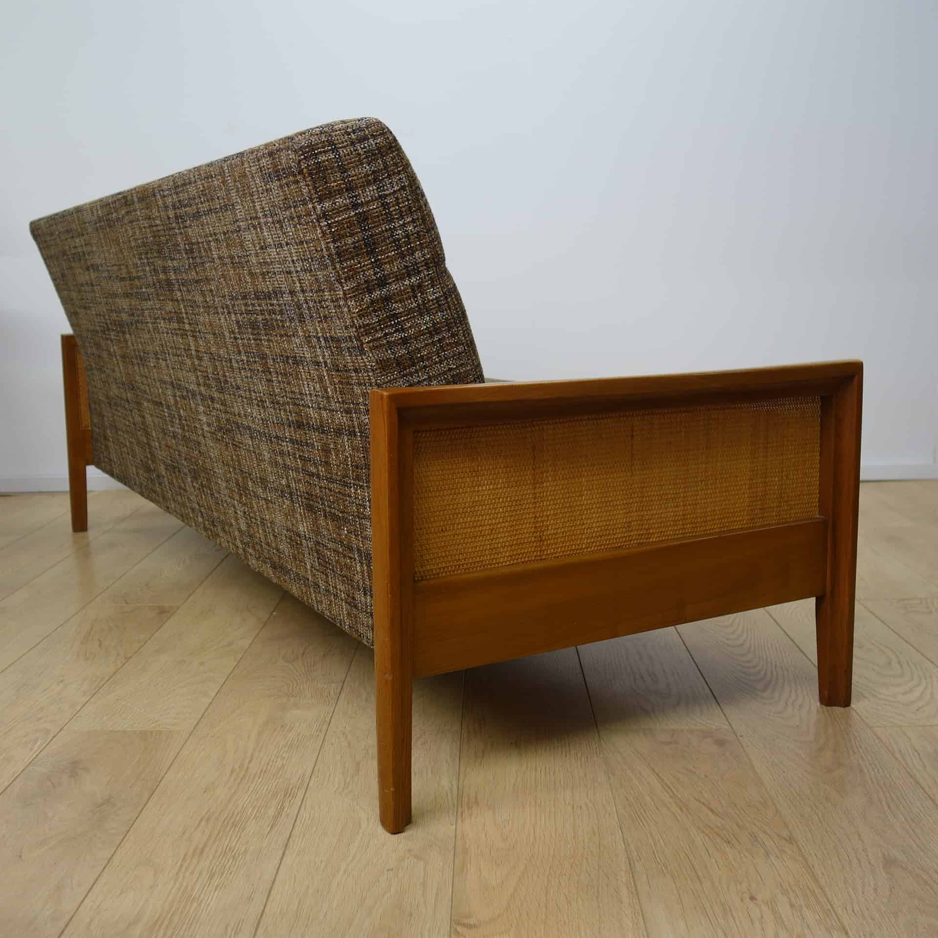 cane sofa bed dillards sleeper 1960s with rattan sides mark parrish mid