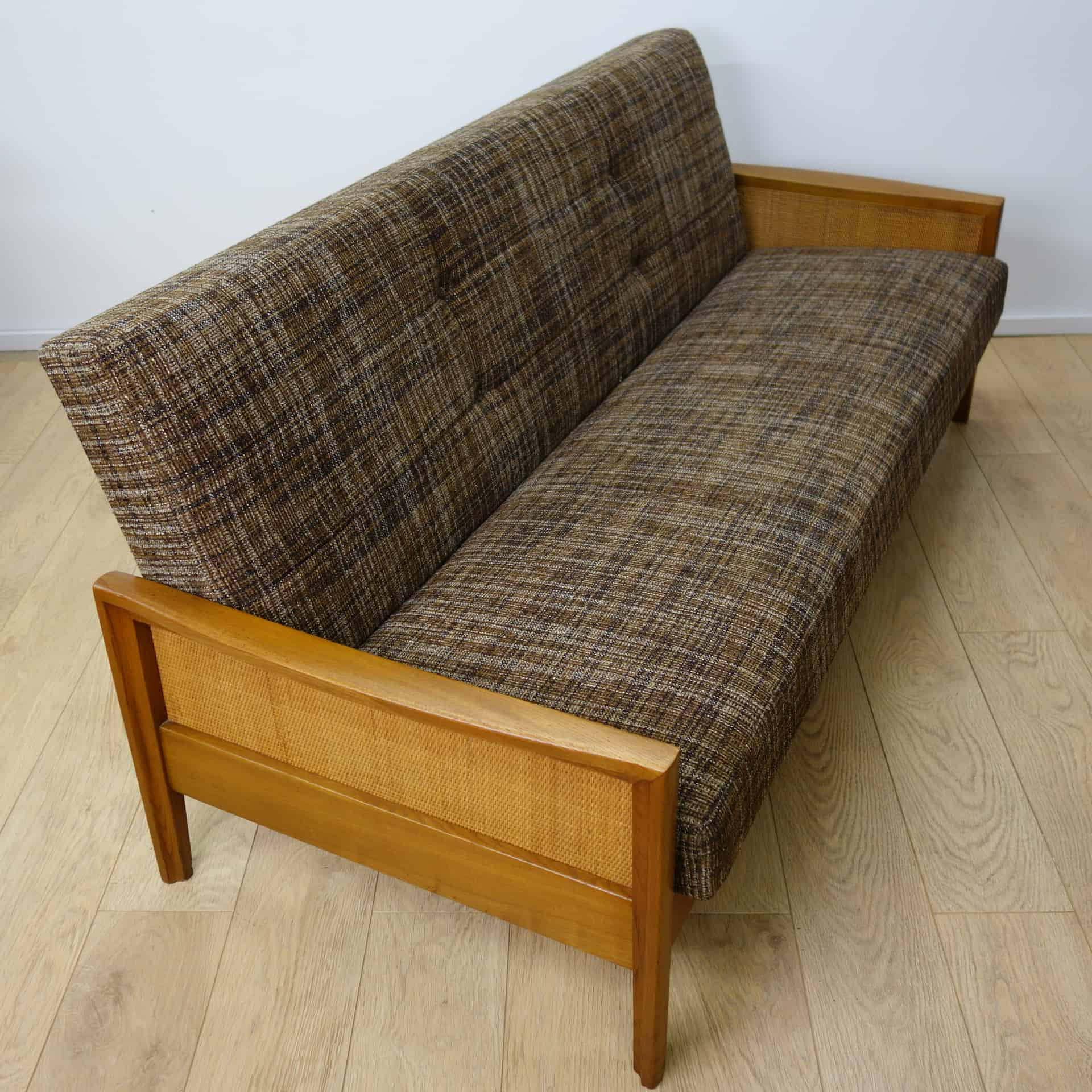 cane sofa bed red literary absolute write 1960s with rattan sides mark parrish mid