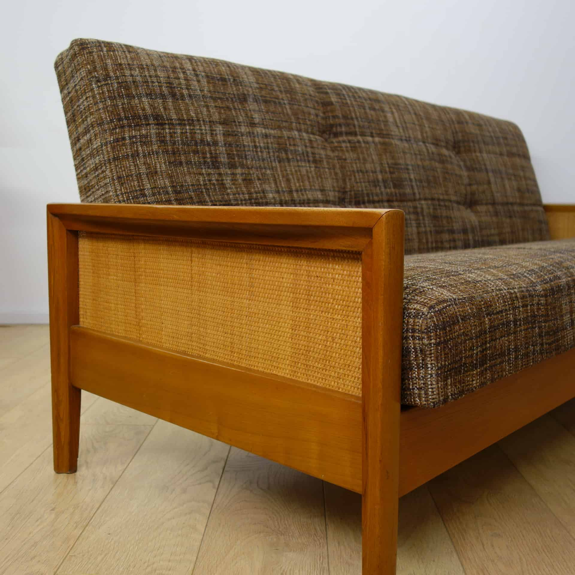 cane sofa bed 1 person 1960s with rattan sides mark parrish mid