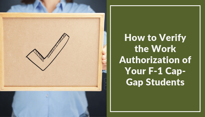 how to verify the work authorization of your F-1 cap-gap students