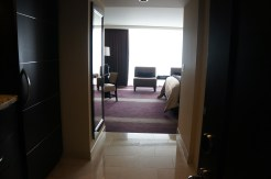 View of basic Aria Deluxe room from entryway.