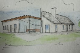 Watercolour of new house county Mayo