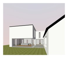 3D rendered image of proposed rear courtyard
