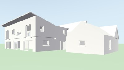 3D Rendered view of mono pitched contemporary extension to traditional two storey Irish (County Sligo) farmhouse