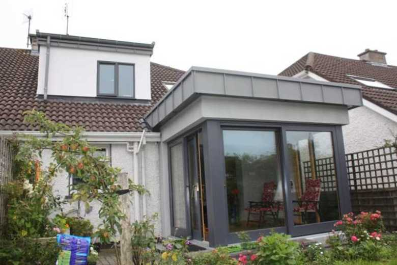 Zinc clad sun room extension to semi-detached house, Castlebar, County Mayo