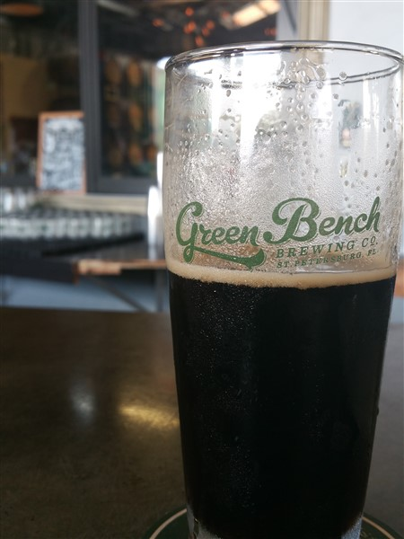A pint of Black IPA at Green Bench Brewery in St. Petersburg