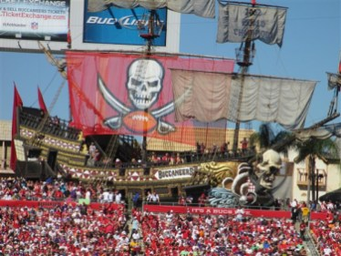 The pirate ship at Raymond James Stadium during a Tampa Bay Buccaneers Game