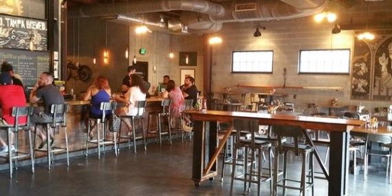 The tasting room at Coppertail Brewing Co in Ybor City