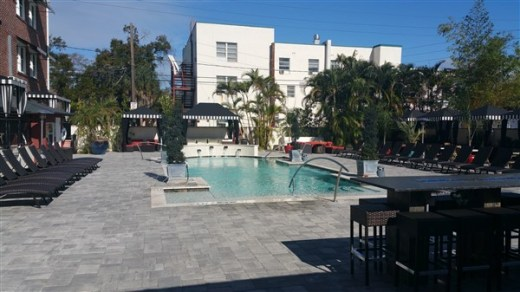 The pool and outdoor deck at the Hollander Hotel in St. Petersburg, FL