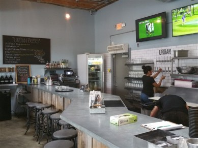 The bar and counter at Urban Comfort Restaurant and Brewery in St. Petersburg, FL