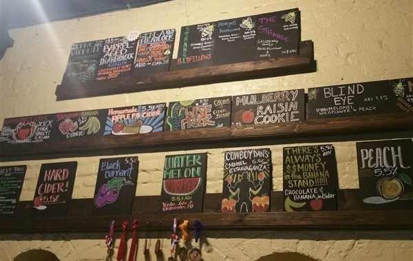 Tap list at Cigar City Cider and Mead in Centro Ybor in Tampa, Florida