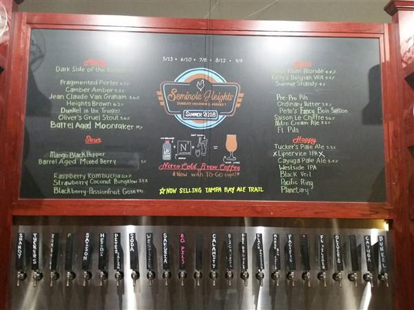 Tap list at Southern Brewing and Winemaking in Tampa, Florida