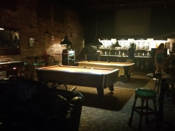 The pool tables at The Dirty Shame in Centro Ybor in Tampa, Florida