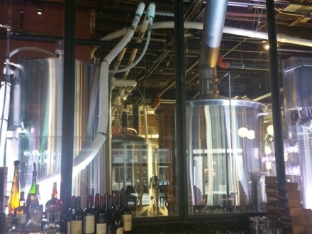 Brewery equipment at Zydeco Brew Werks in Centro Ybor in Tampa