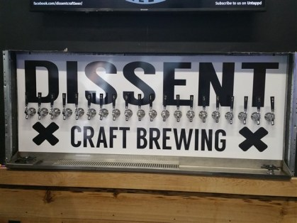 tap handles at Dissent Craft Brewing Company in St. Pete, FL