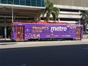 The TECO 800 streetcar stop in front of Hattricks restaurant bar in Tampa