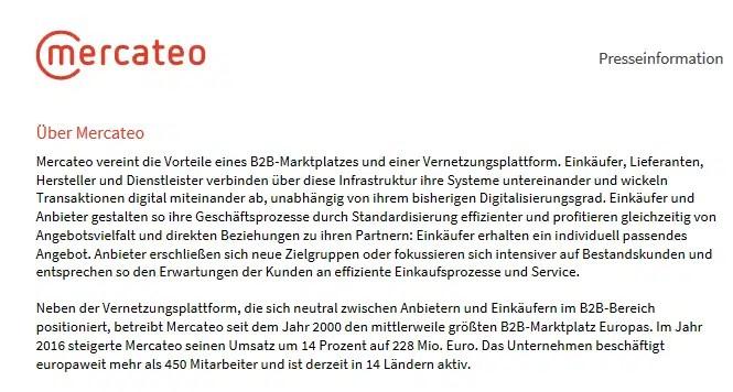 Presseinformation von Mercateo