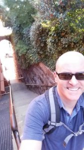"""At the top of the """"Exorcist"""" Steps in Georgetown. I climbed these steps to and from my appointment today."""