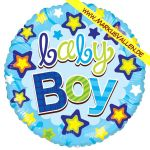 Folienballon baby-boy-rund
