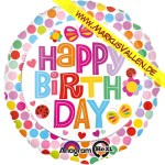 Folienballon Happy Birthday Flowers