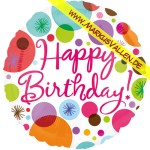 Folienballon Happy Birthday Polka-Dots