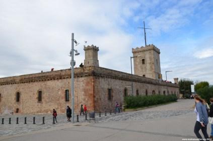 Mauern des Schloss Montjuic Barcelona