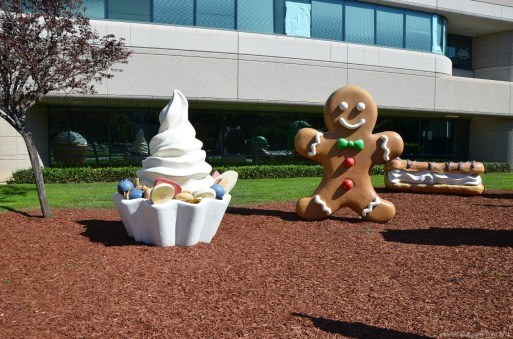 Froyo und Gingerbread am Google Building 44, Mountain View, CA