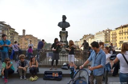 Unterhaltung auf Ponte Vecchio